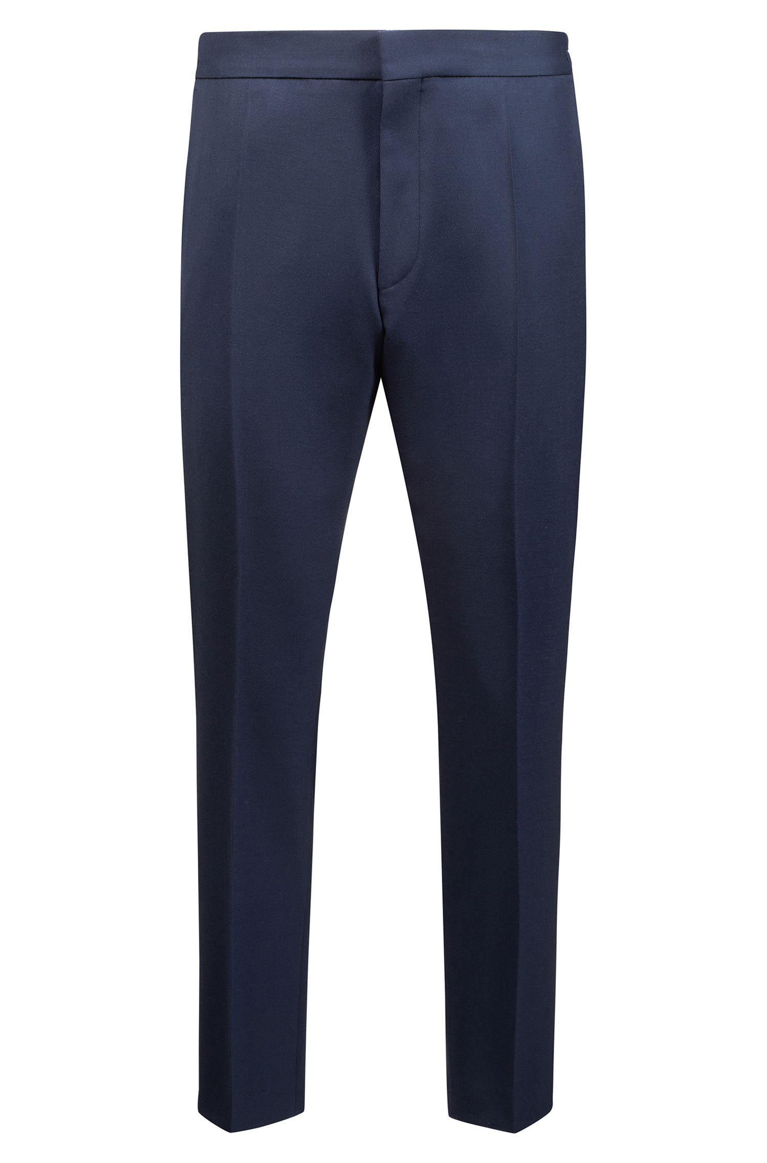 Oversized-fit kostuum in een gestreepte twill van een wolmix, Donkerblauw