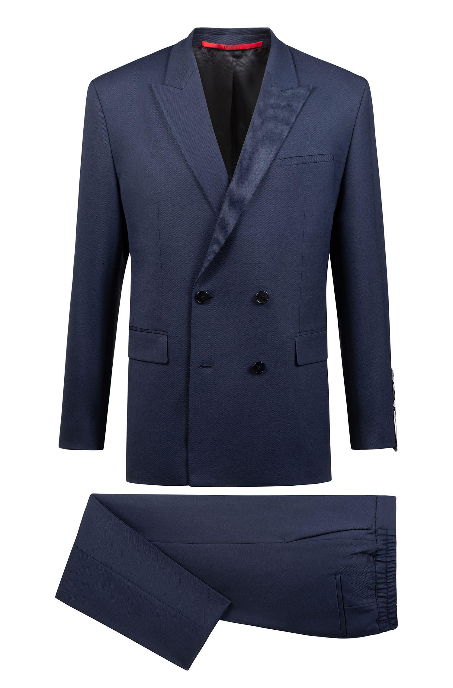Gestreifter Oversized Anzug aus elastischem Woll-Mix, Dunkelblau