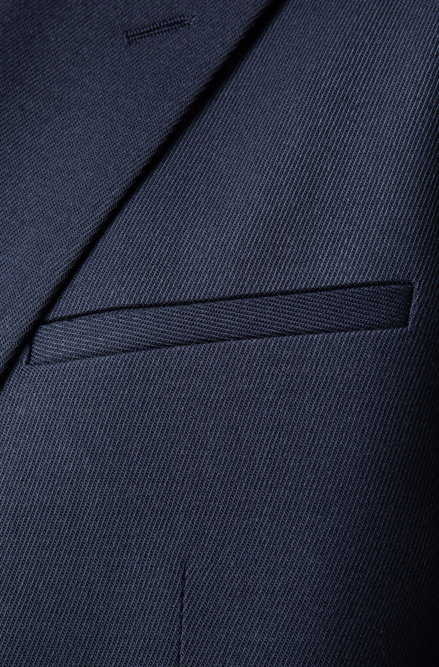 Oversized-fit double-breasted suit in mixed wools, Blue