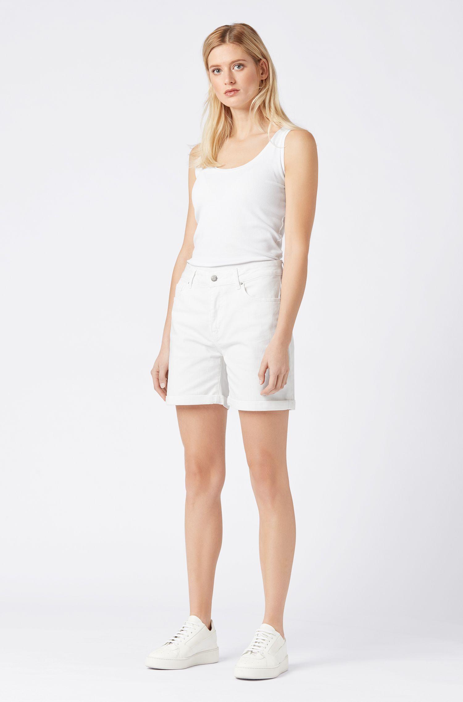 Camiseta de tirantes slim fit en algodón elástico de canalé, Blanco