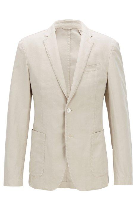 7f9742942c9 BOSS - Slim-fit jacket in a linen-cotton blend