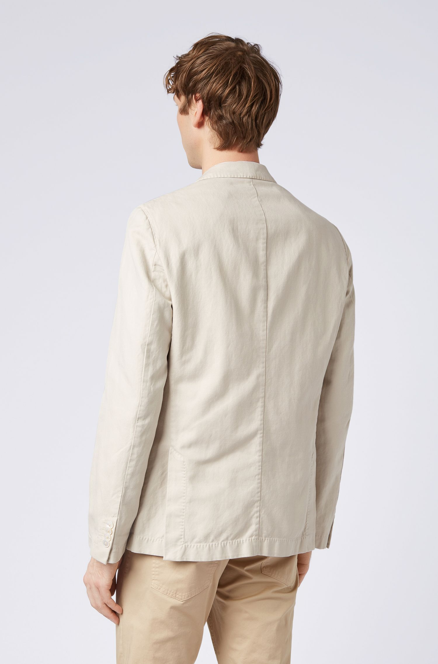 Slim-fit jacket in a linen-cotton blend, Light Beige
