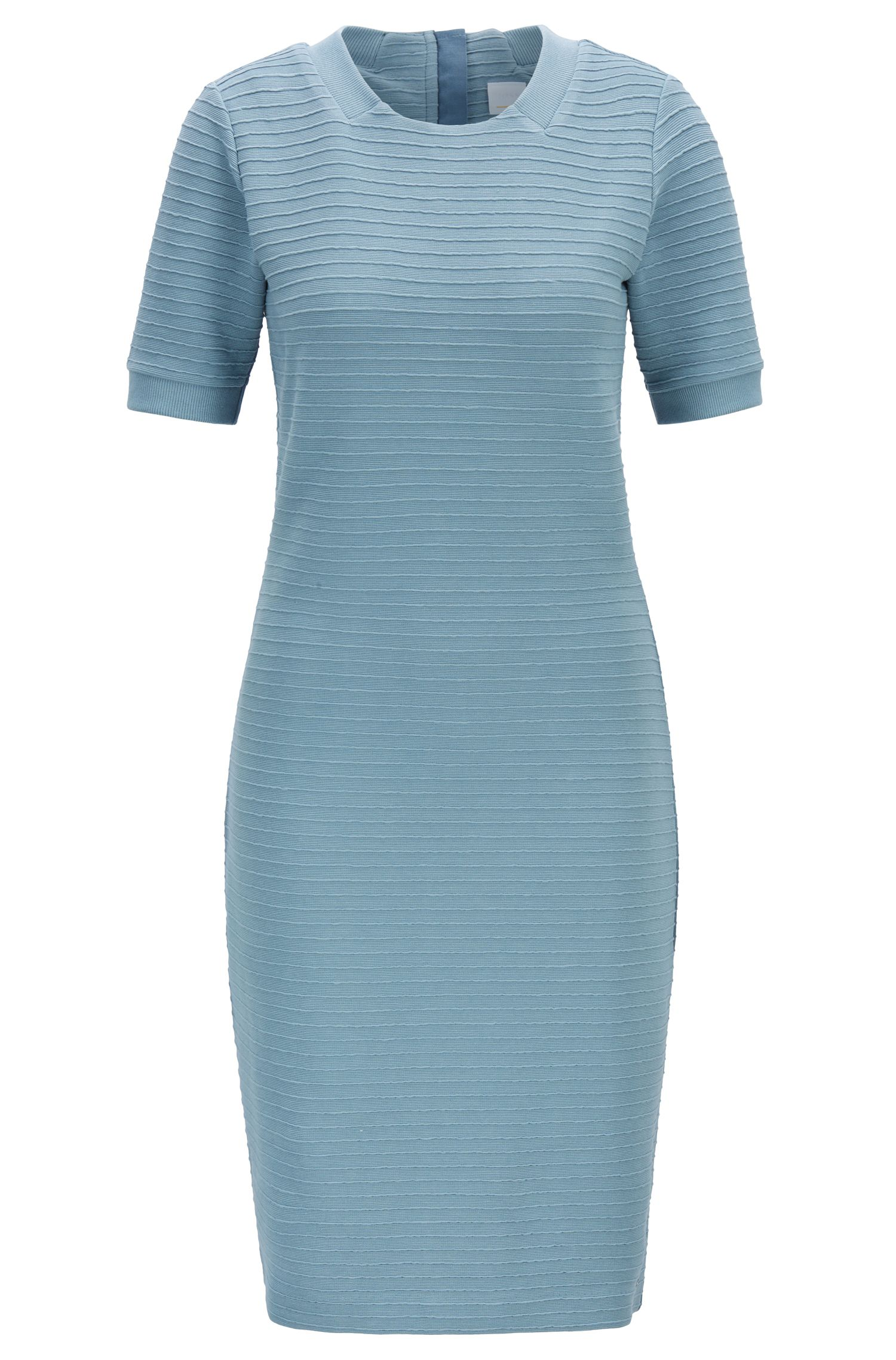 Vestido entallado slim fit con textura de canalé tridimensional, Azul