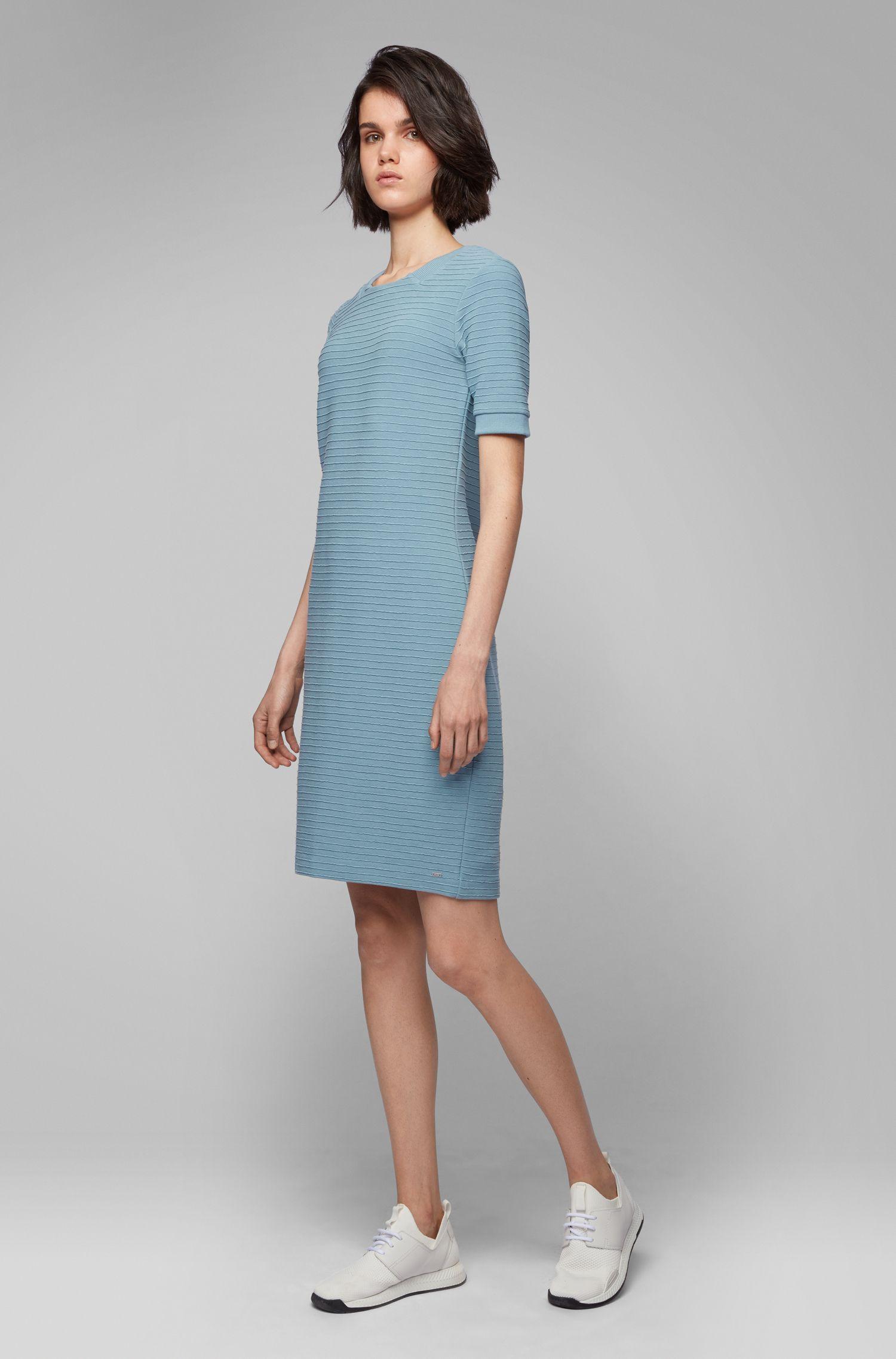Bodycon-Kleid aus elastischem Baumwoll-Mix mit 3D-Rippstruktur, Blau