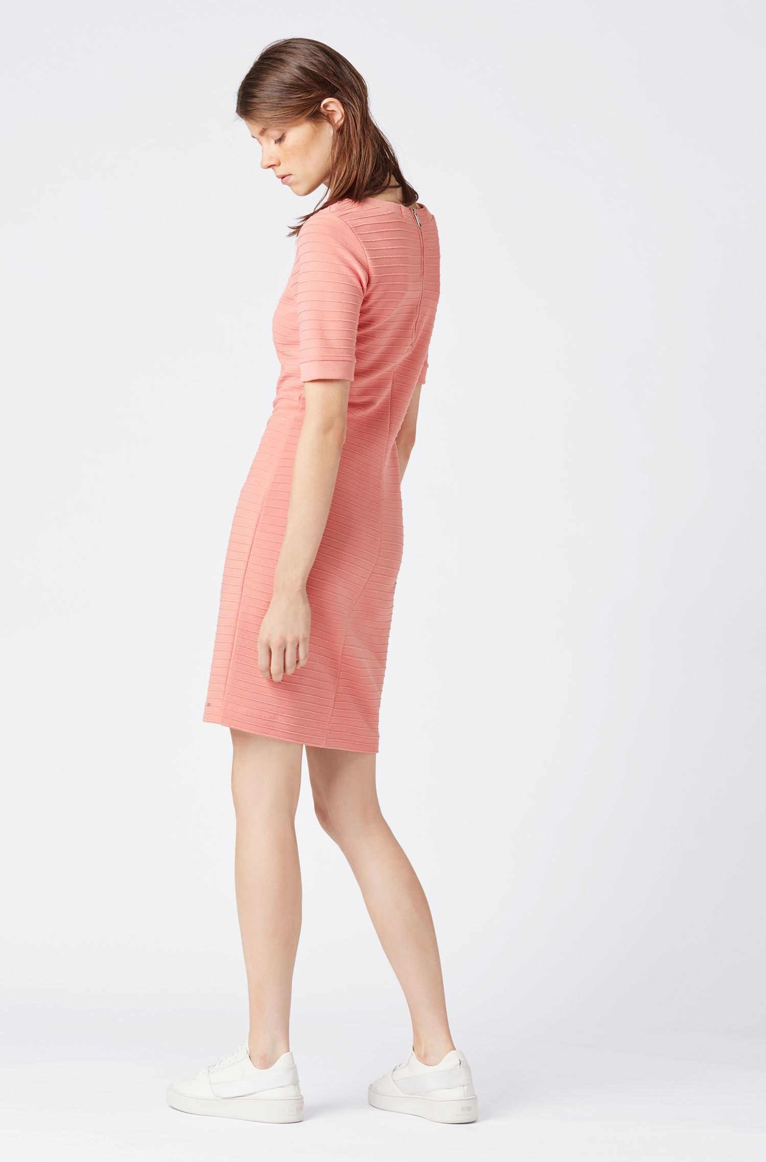 Slim-fit bodycon dress with 3D ribbed structure, Light Orange