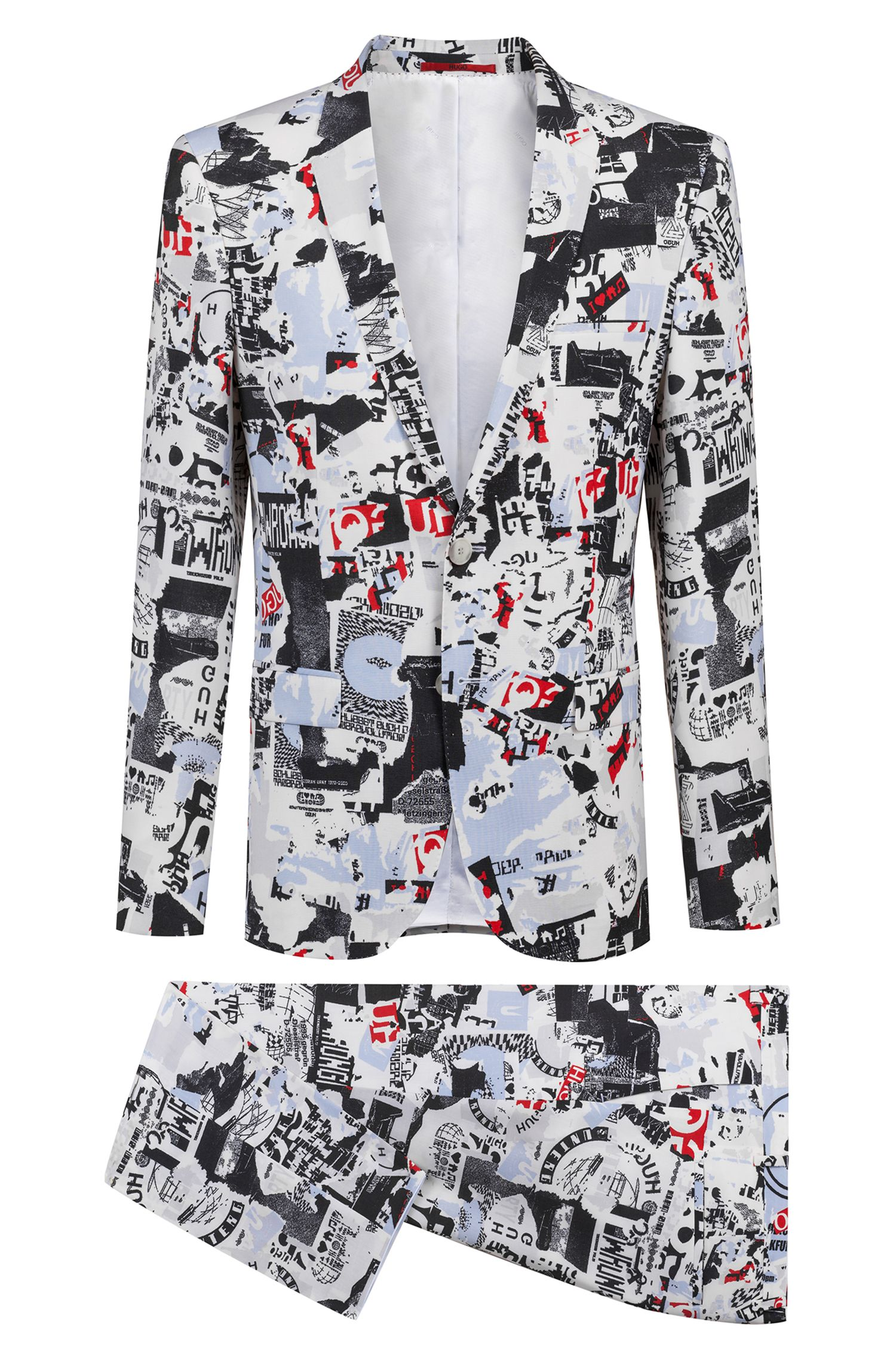 Extra-slim-fit suit in graphic-print virgin wool, Patterned