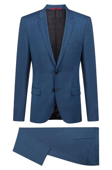 Traje extra slim fit en lana virgen con efecto sobreteñido, Azul