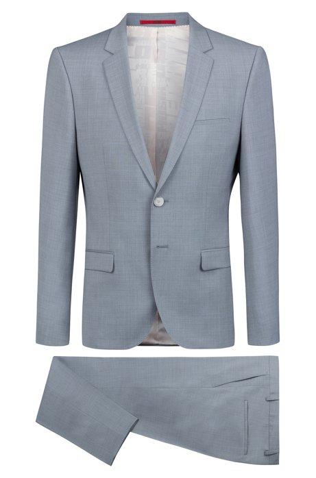 Costume Extra Slim Fit en laine vierge à la finition surteinte, Bleu vif