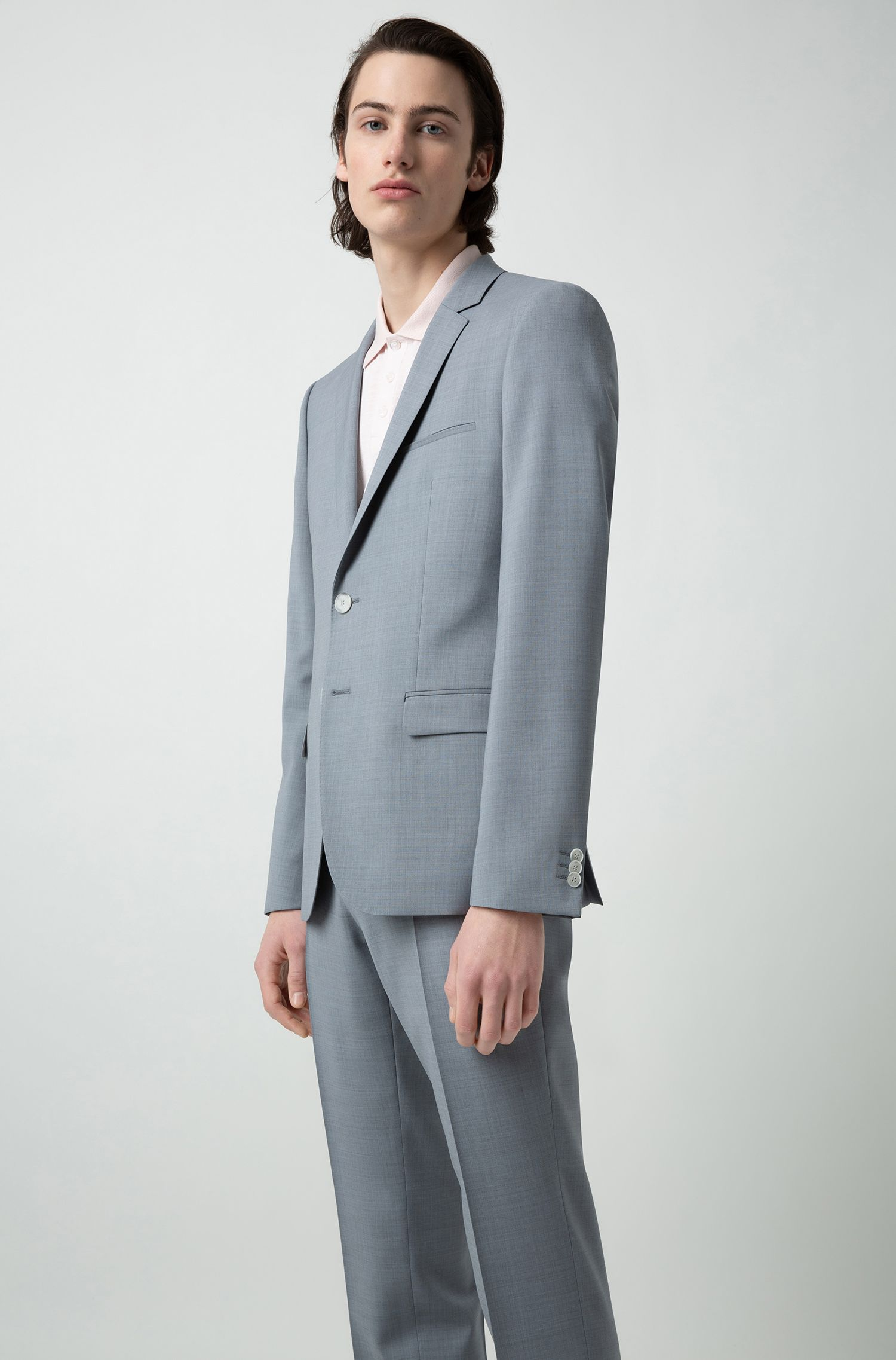 Extra-slim-fit virgin-wool suit with overdyed effect, Light Blue