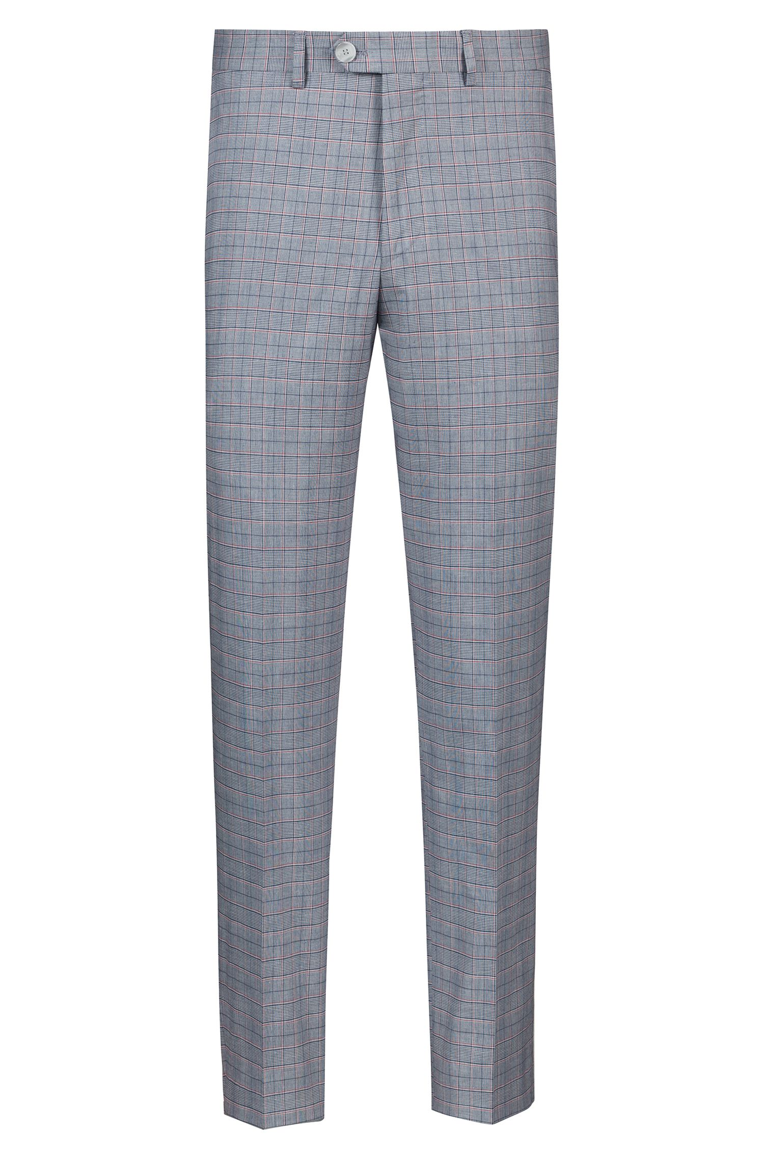 Tapered-fit trousers with three-coloured check, Patterned