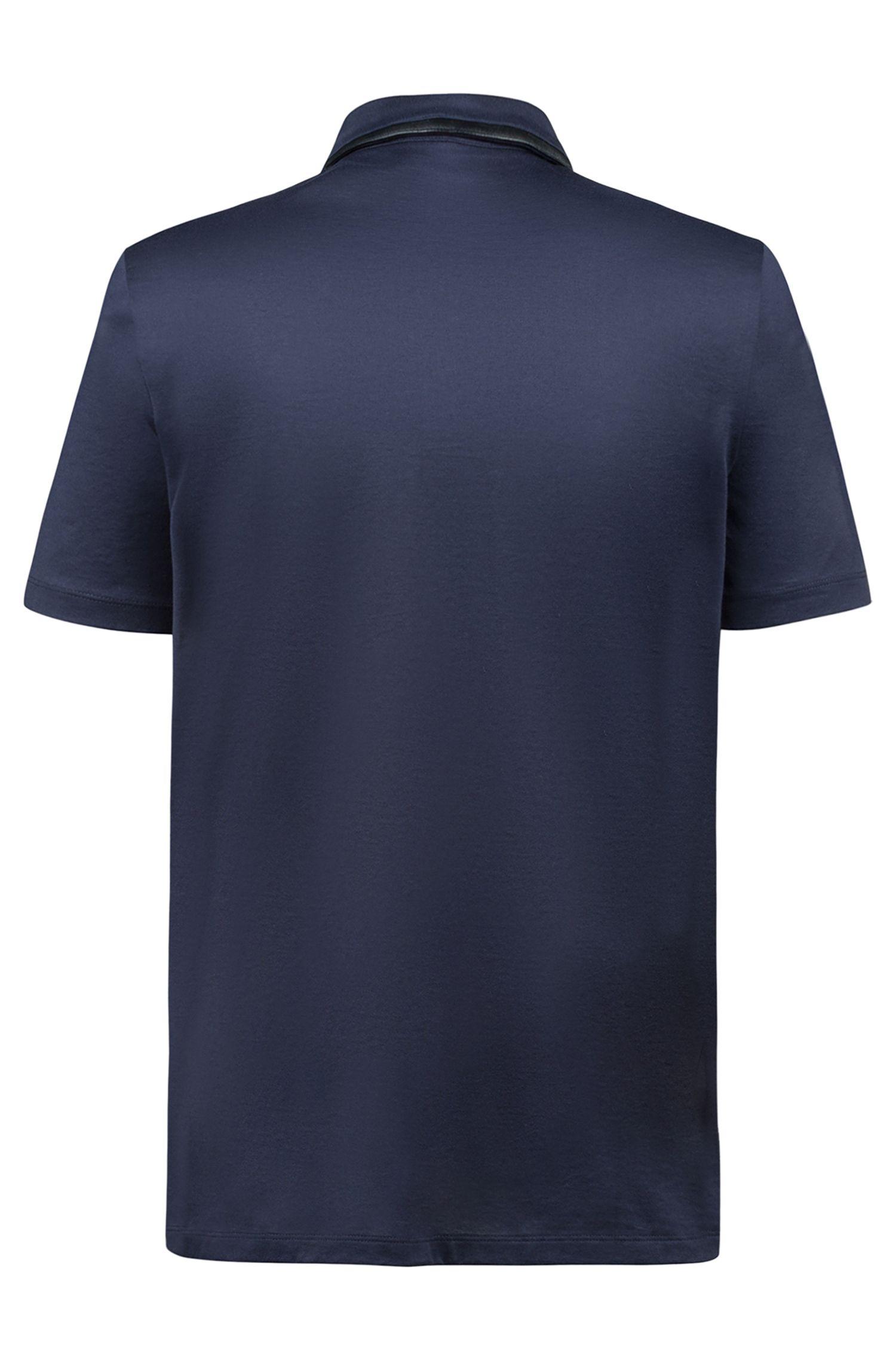 Slim-fit polo van gemerceriseerde katoen met imitatieleren rand, Donkerblauw