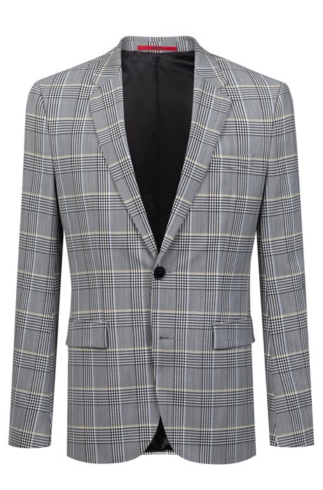 58b5b48a7fa HUGO - Extra-slim-fit checked jacket in a seersucker blend