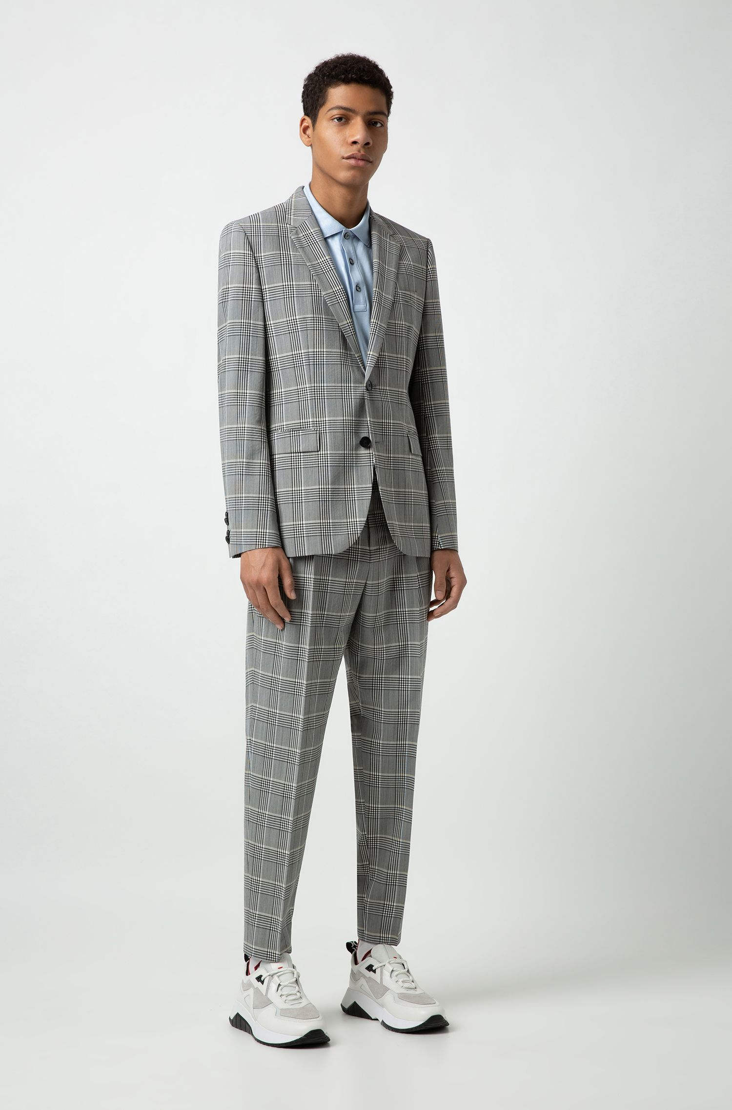 Extra-slim-fit checked jacket in a seersucker blend, Patterned