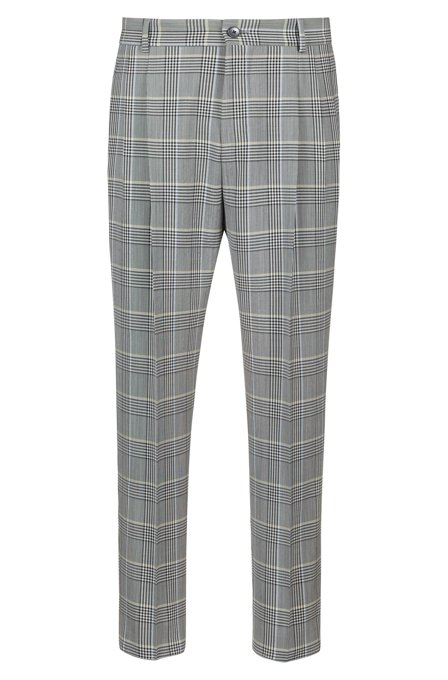 Relaxed-fit trousers in checked seersucker, Patterned