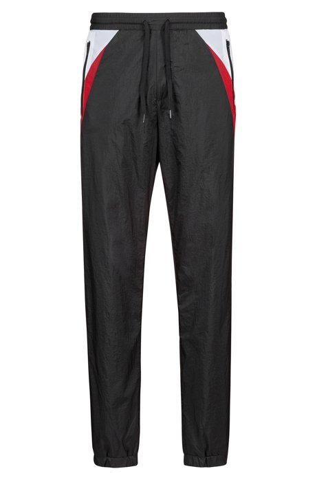 Pantaloni leggeri in tessuto tecnico stropicciato con dettagli a contrasto, Nero