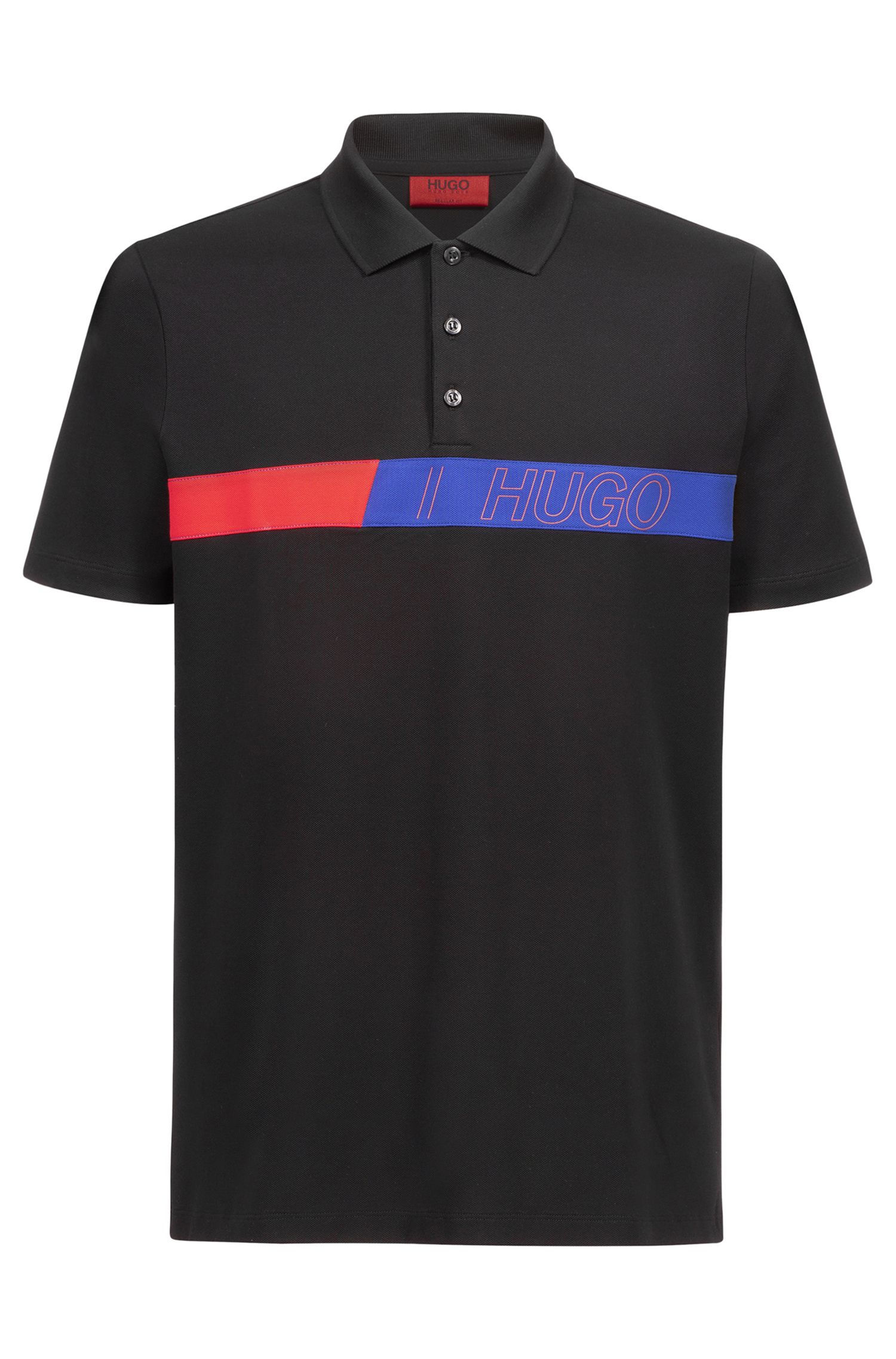 Regular-fit polo shirt in cotton with logo artwork, Black
