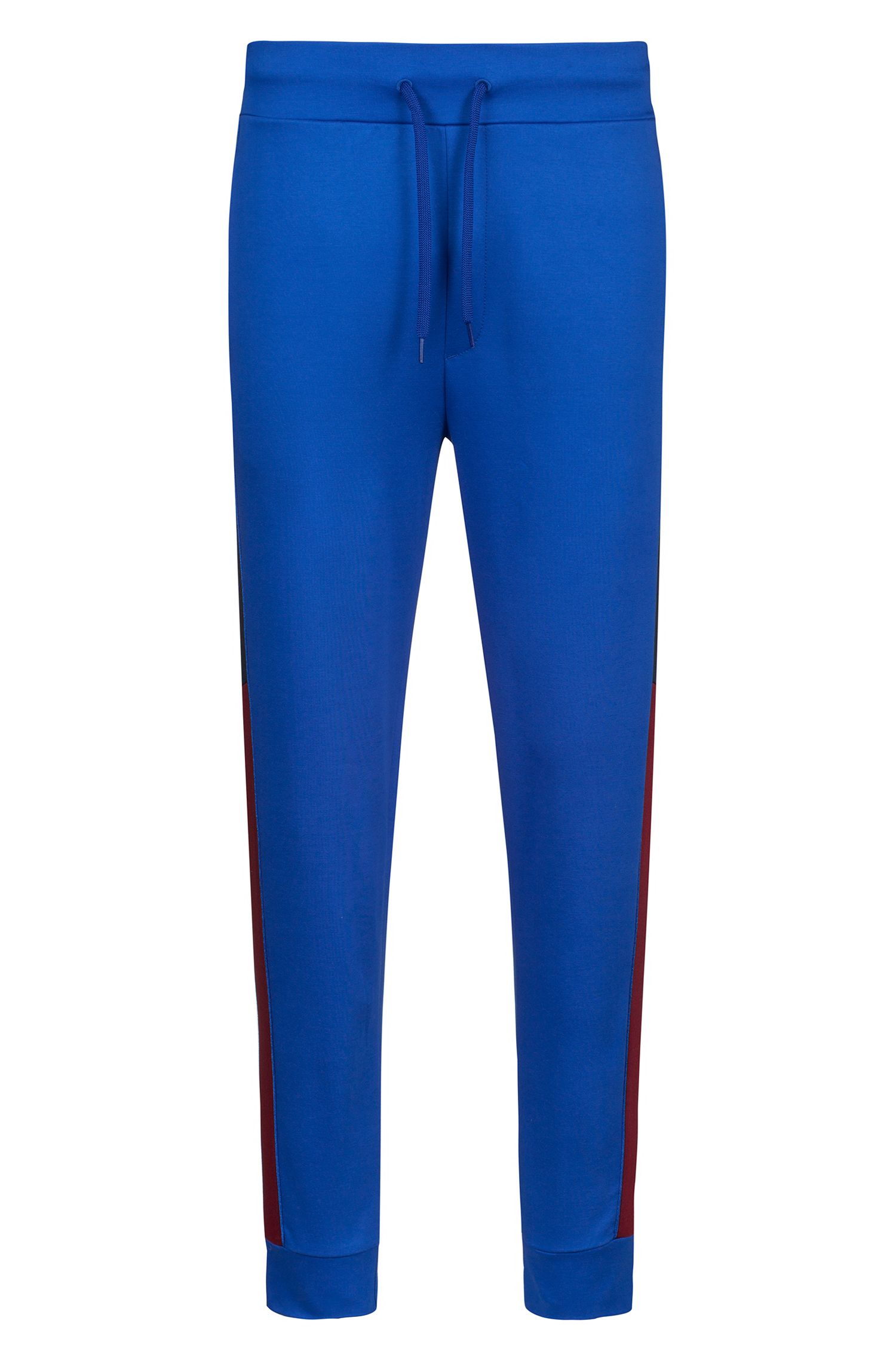 Regular-fit jersey trousers with colourblocking and logo print, Blue