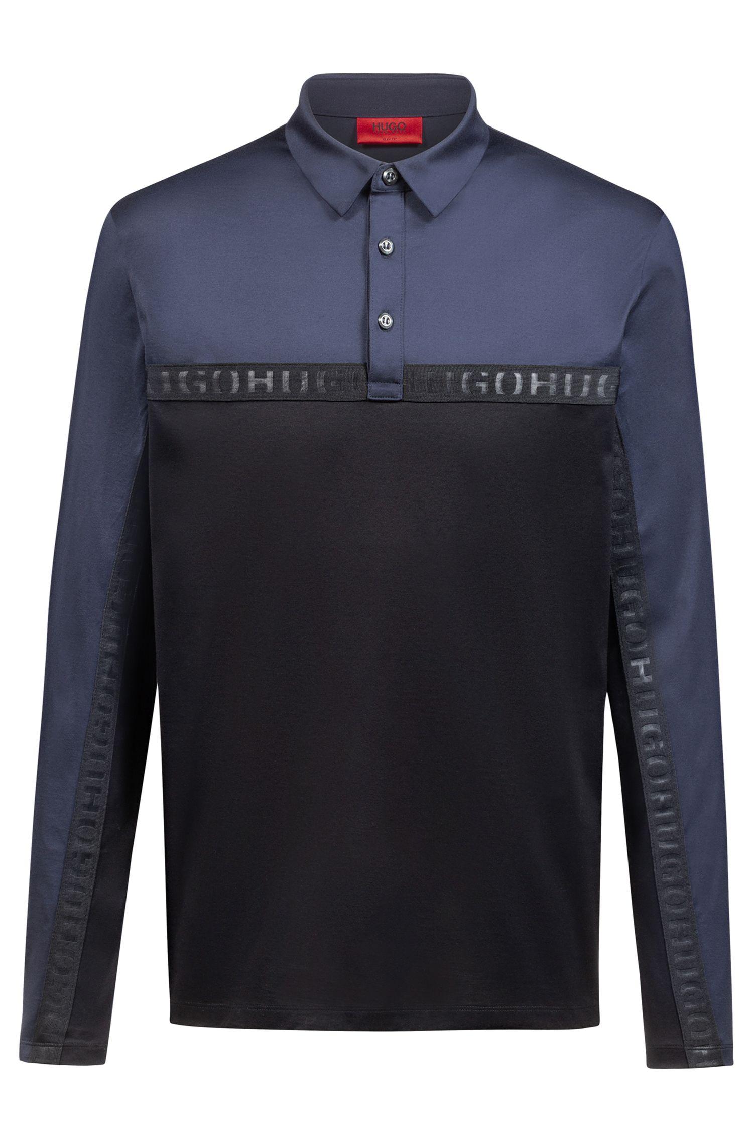 Polo à manches longues en coton orné d'une bande logo, Noir