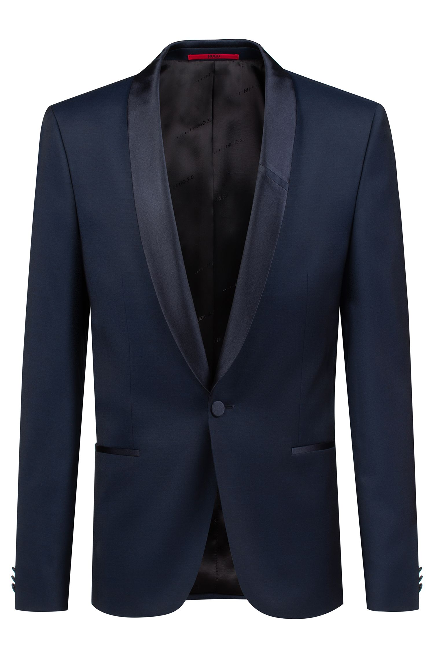 Bits & Bytes Capsule extra-slim-fit jacket in virgin wool twill, Dark Blue