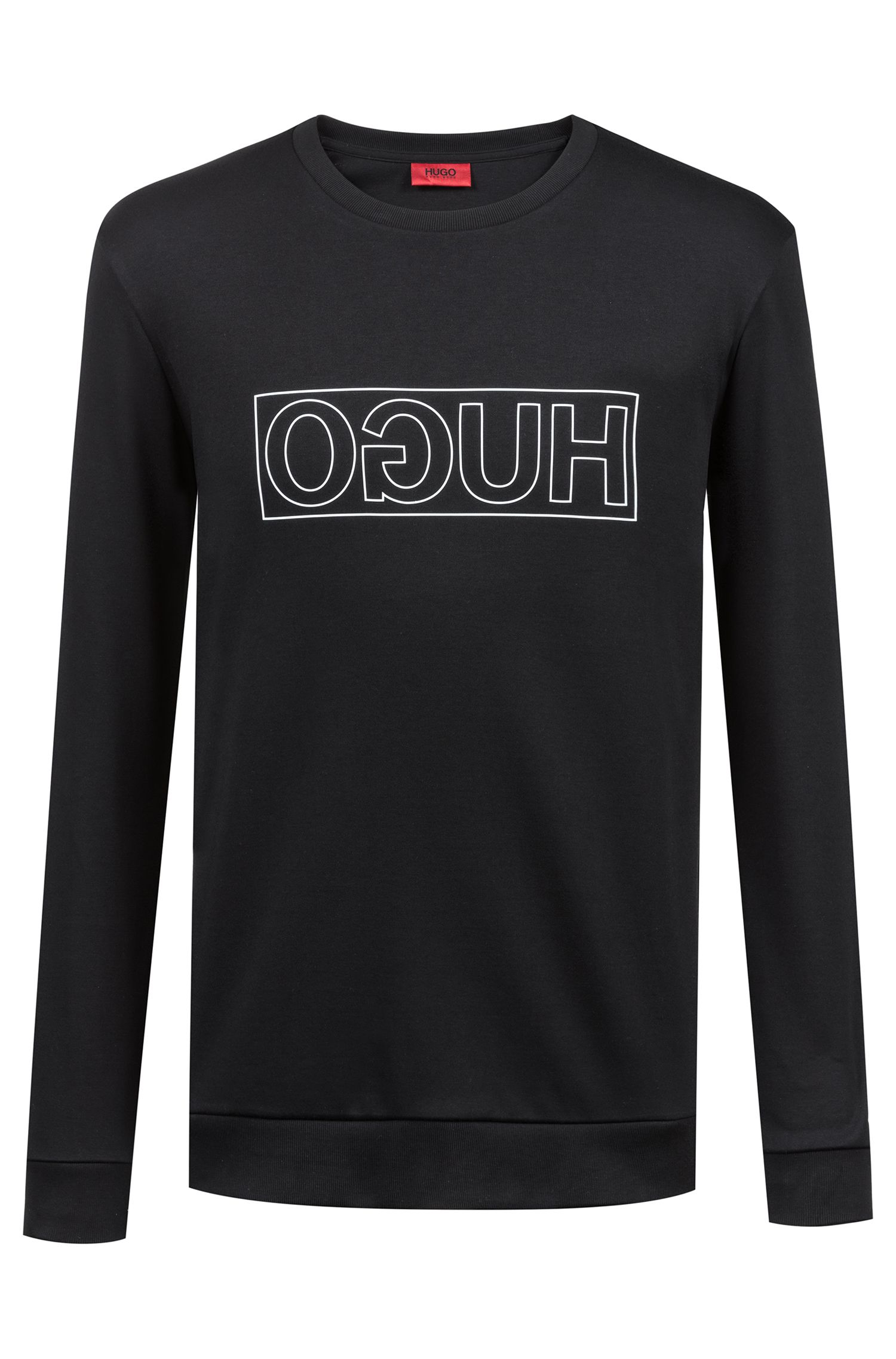 Reverse-logo sweatshirt in interlock cotton, Black