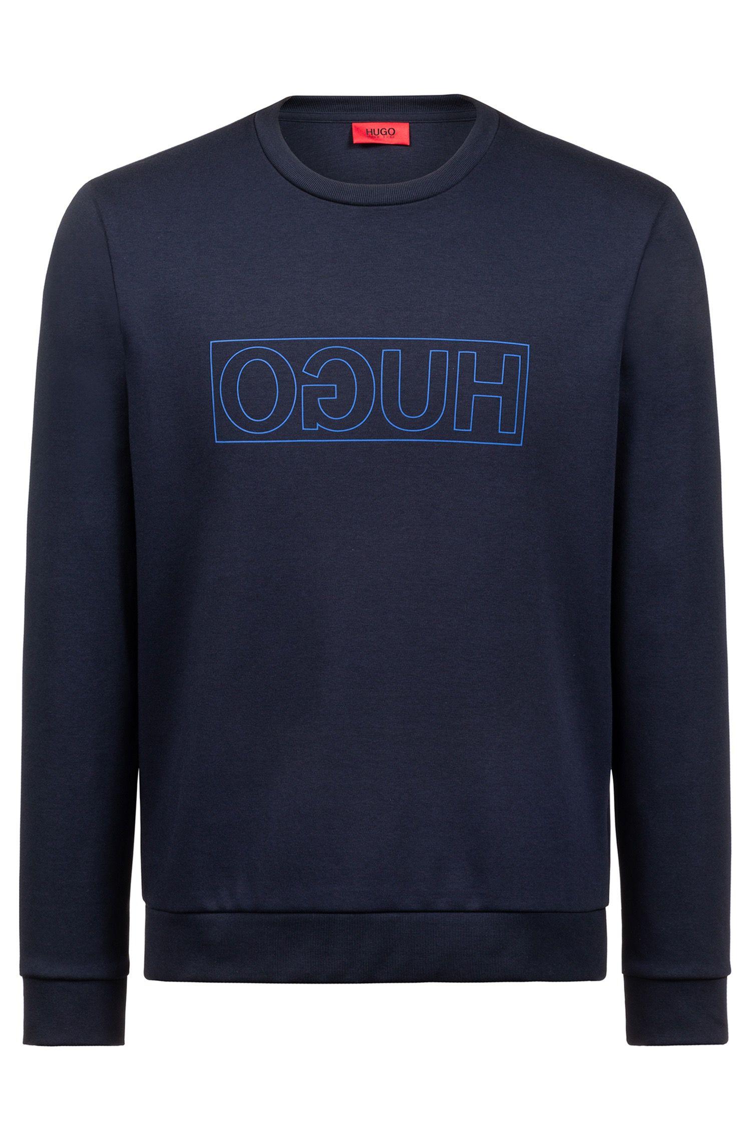 Sudadera con logo invertido en algodón interlock, Azul oscuro