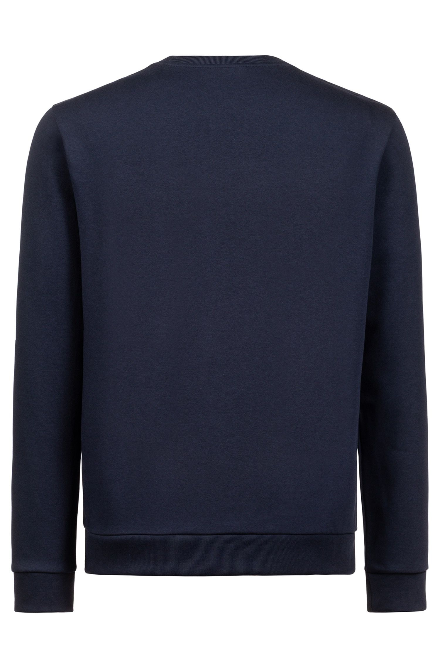 Sweatshirt aus Interlock-Baumwolle mit spiegelverkehrtem Logo, Dunkelblau