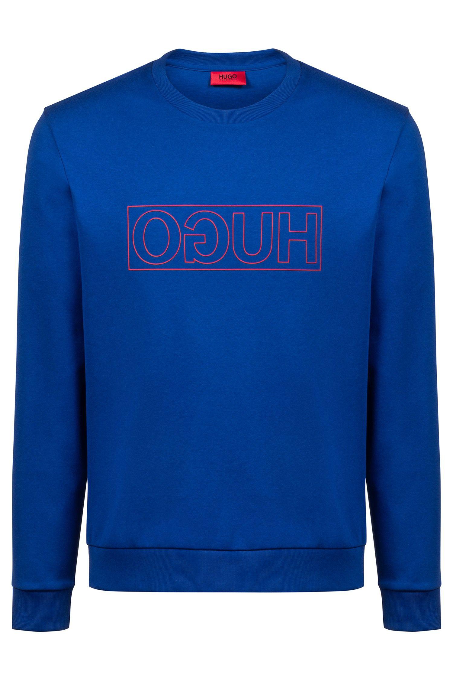 Sweatshirt aus Interlock-Baumwolle mit spiegelverkehrtem Logo, Blau