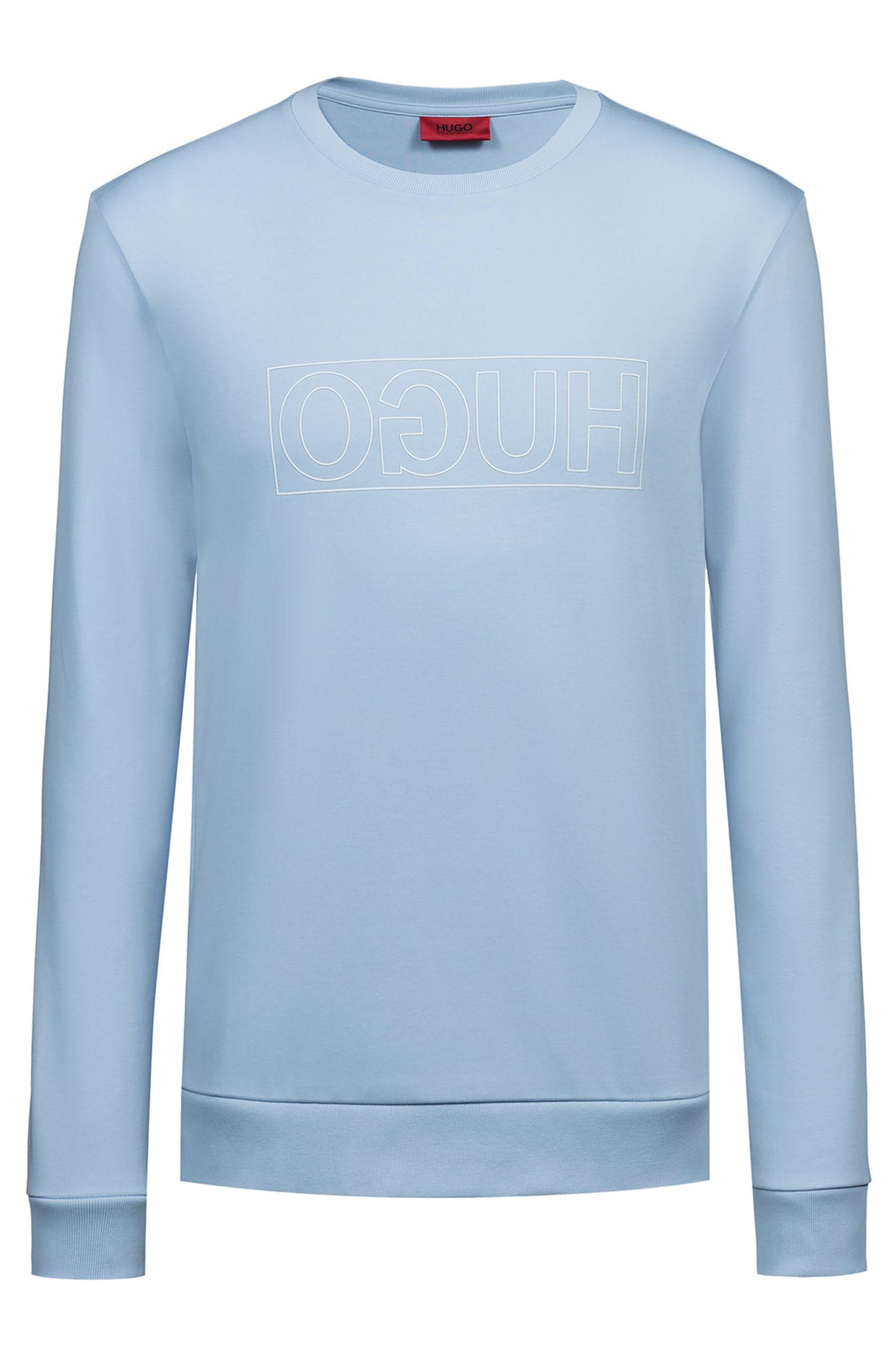 Sweatshirt aus Interlock-Baumwolle mit spiegelverkehrtem Logo, Hellblau