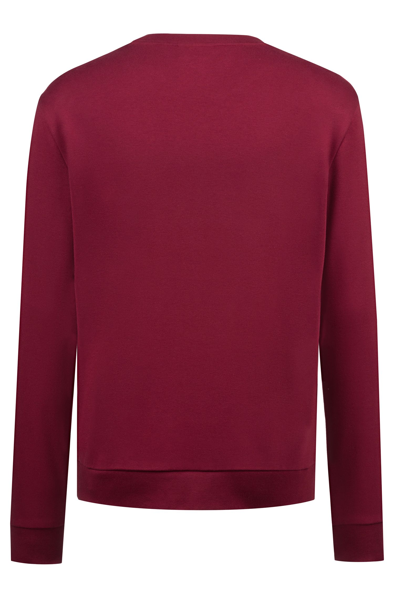 Sweatshirt aus Interlock-Baumwolle mit spiegelverkehrtem Logo, Dunkelrot