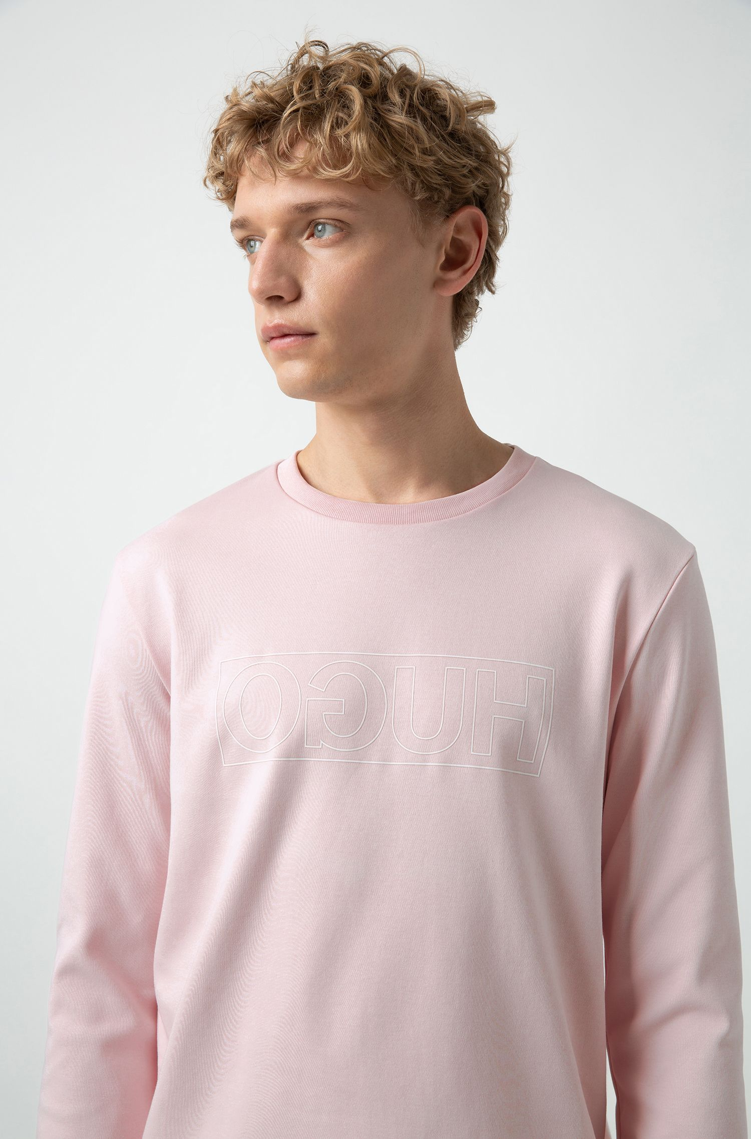 Sweat à logo inversé en coton interlock, Rose clair