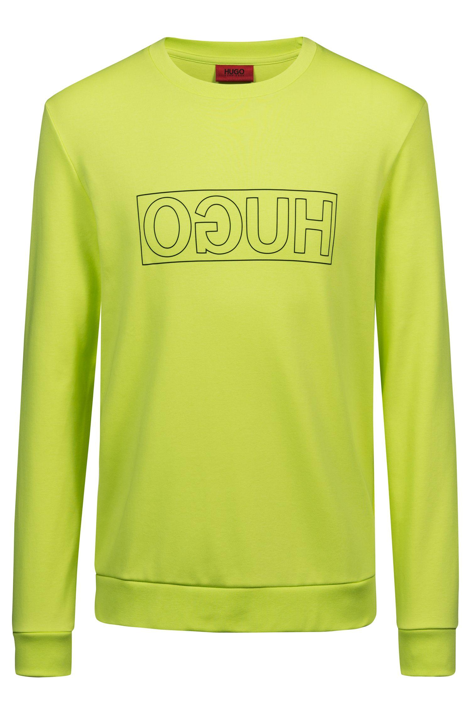 Sweatshirt aus Interlock-Baumwolle mit spiegelverkehrtem Logo, Gelb