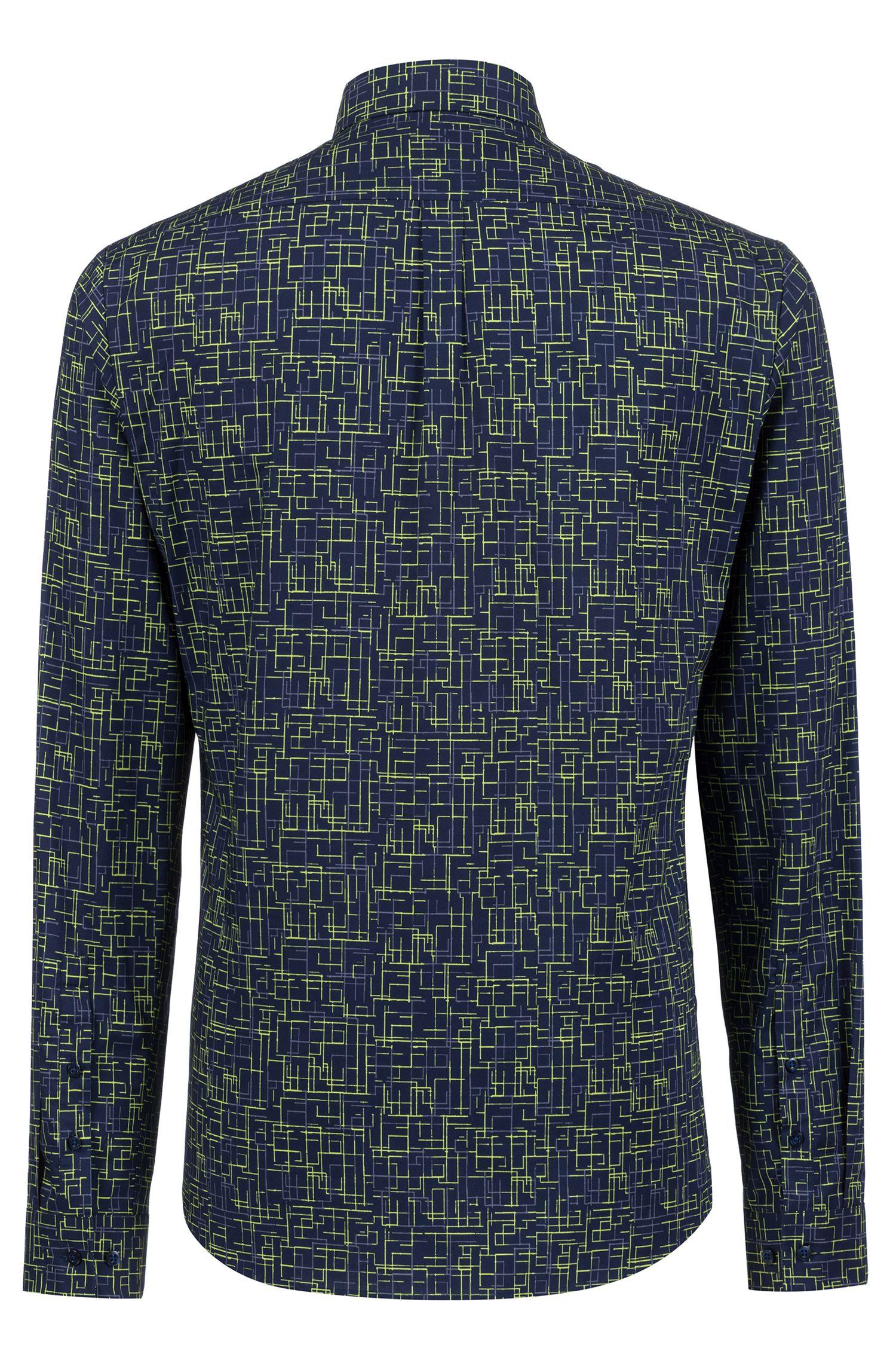 Camisa extra slim fit de algodón con estampado de inspiración tecno, Fantasía