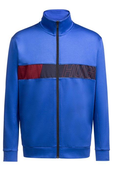 Sweat zippé à panneau logo color block, Bleu