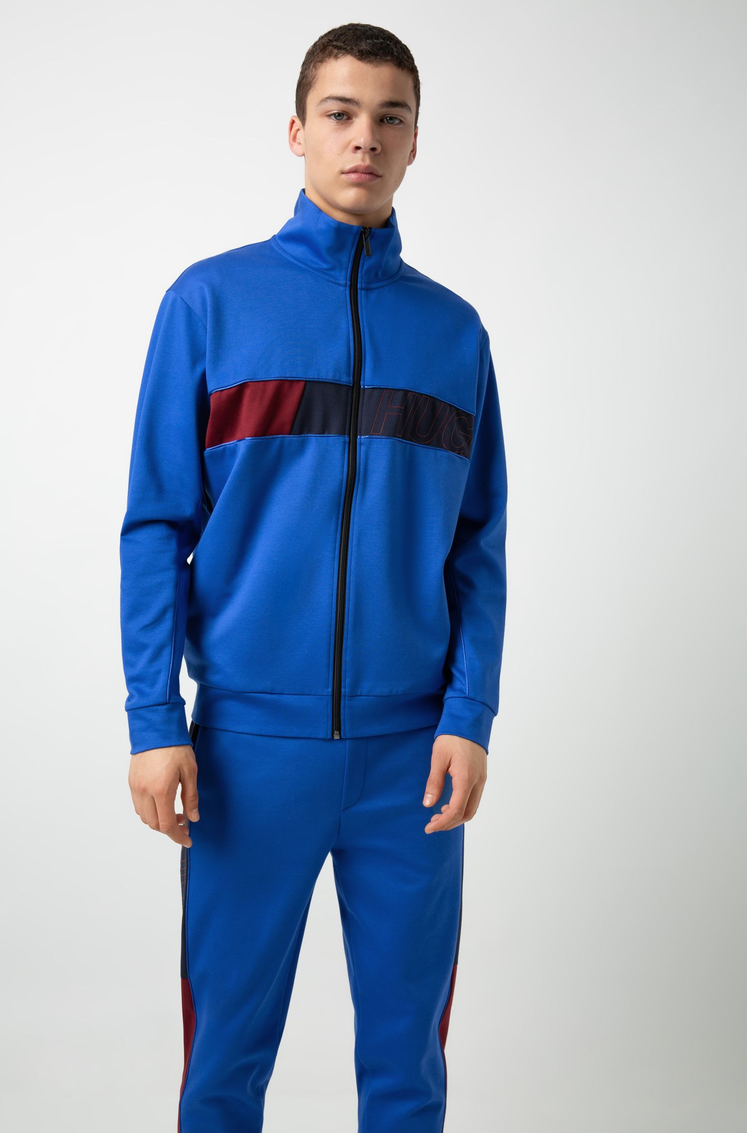Zip-through sweatshirt with colour-block logo panel, Blue
