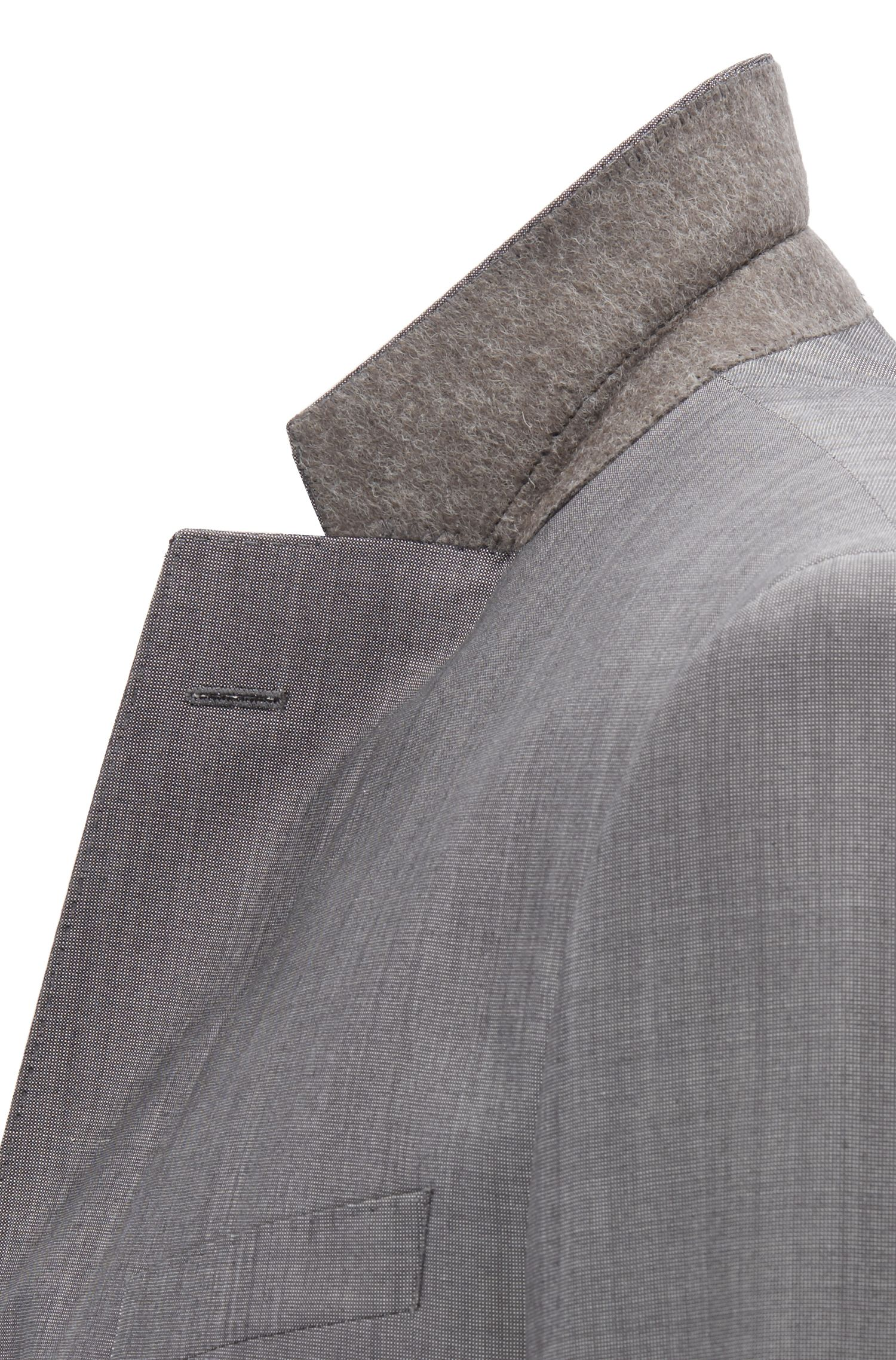 Slim-fit three-piece suit in a micro-patterned wool blend, Open Grey