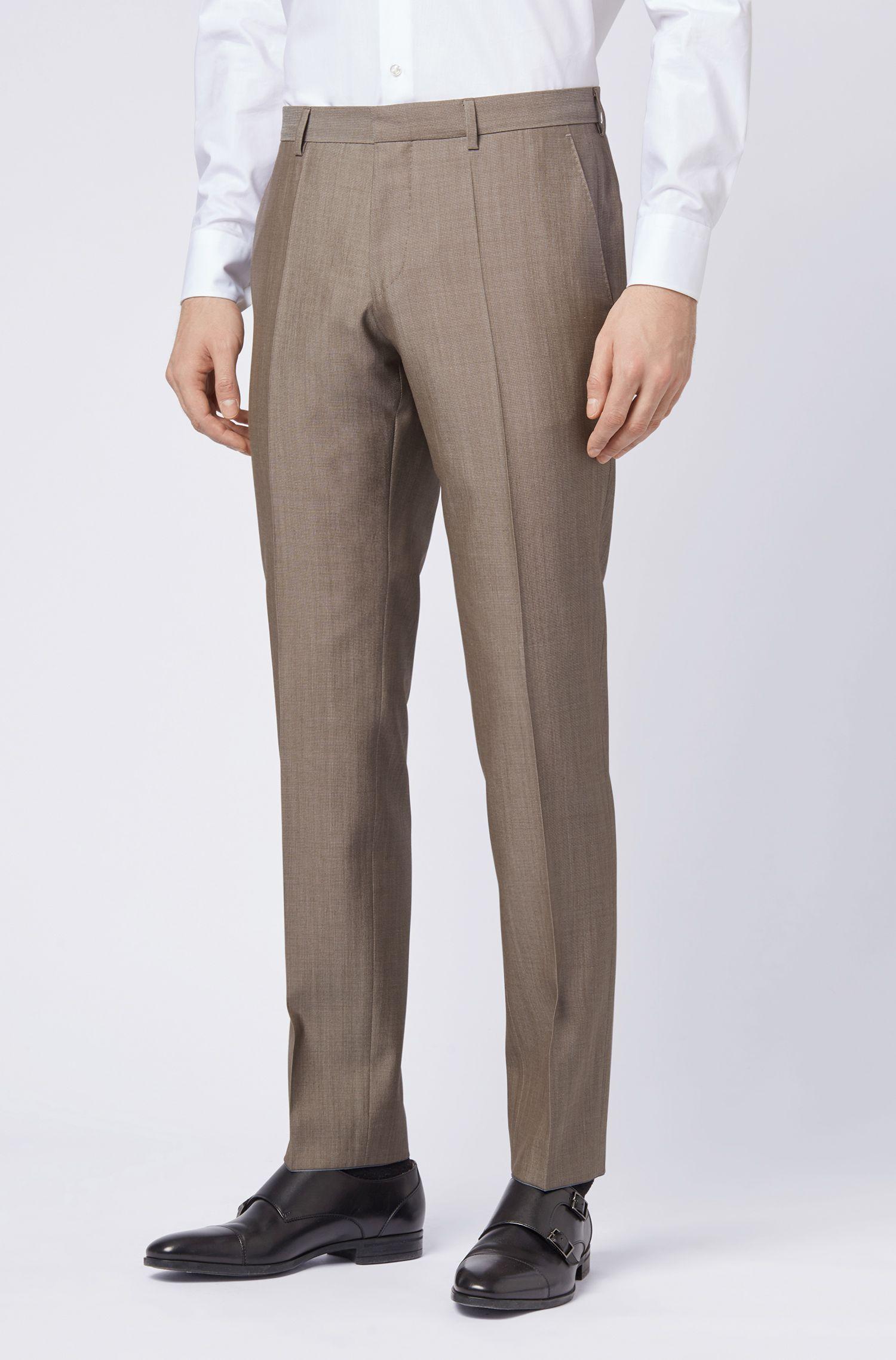 Abito con gilet slim fit in misto lana con microdisegni, Beige