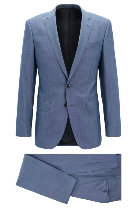 Costume trois pièces Slim Fit en laine mélangée à micro-motif, Bleu vif