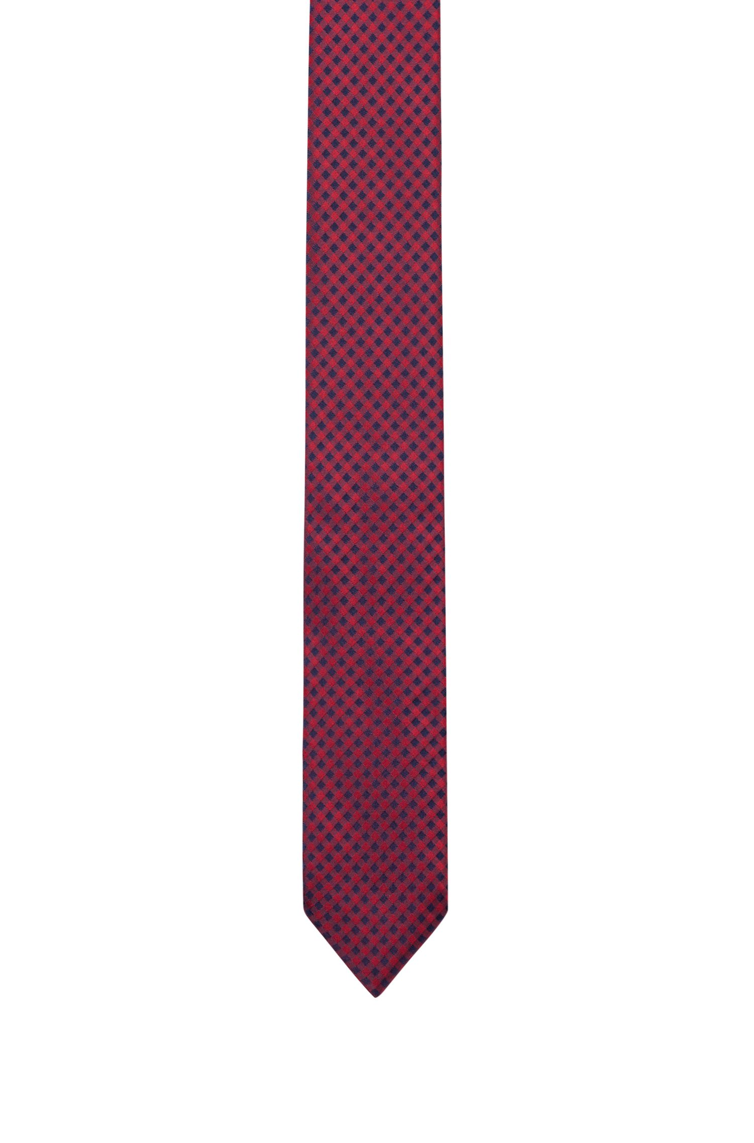 Jacquard-Krawatte aus reiner Seide mit Vichy-Karo, Gemustert