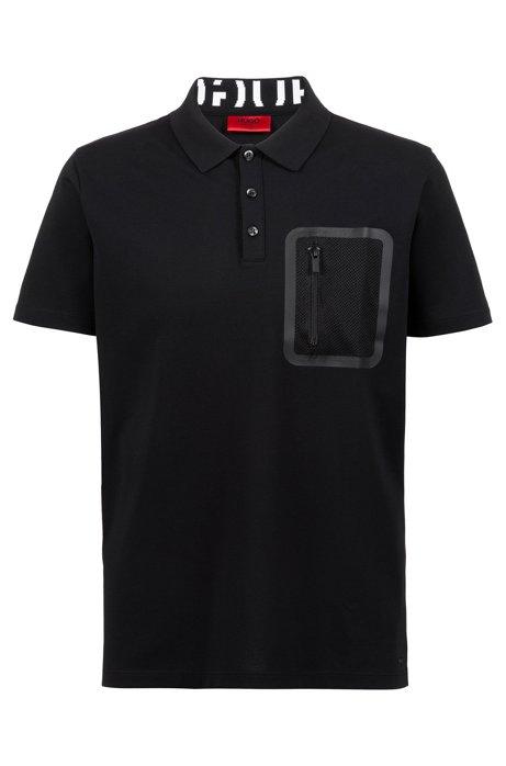 Gestricktes Polohemd mit Permafit-Finish und Reißverschlusstasche, Schwarz