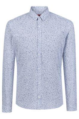 Extra slim-fit overhemd van katoen met wiskundige print, Bedrukt