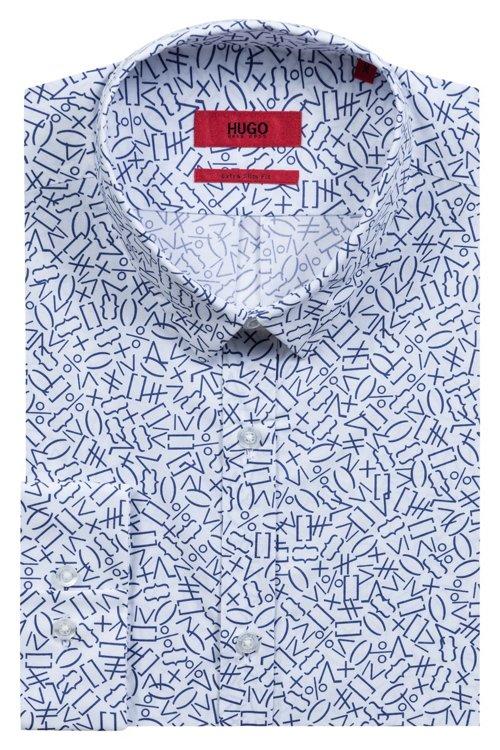 Hugo Boss - Camisa extra slim fit de algodón con estampado matemático - 5