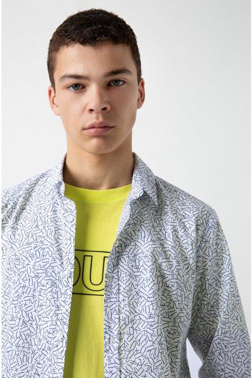 Hugo Boss - Camisa extra slim fit de algodón con estampado matemático - 3