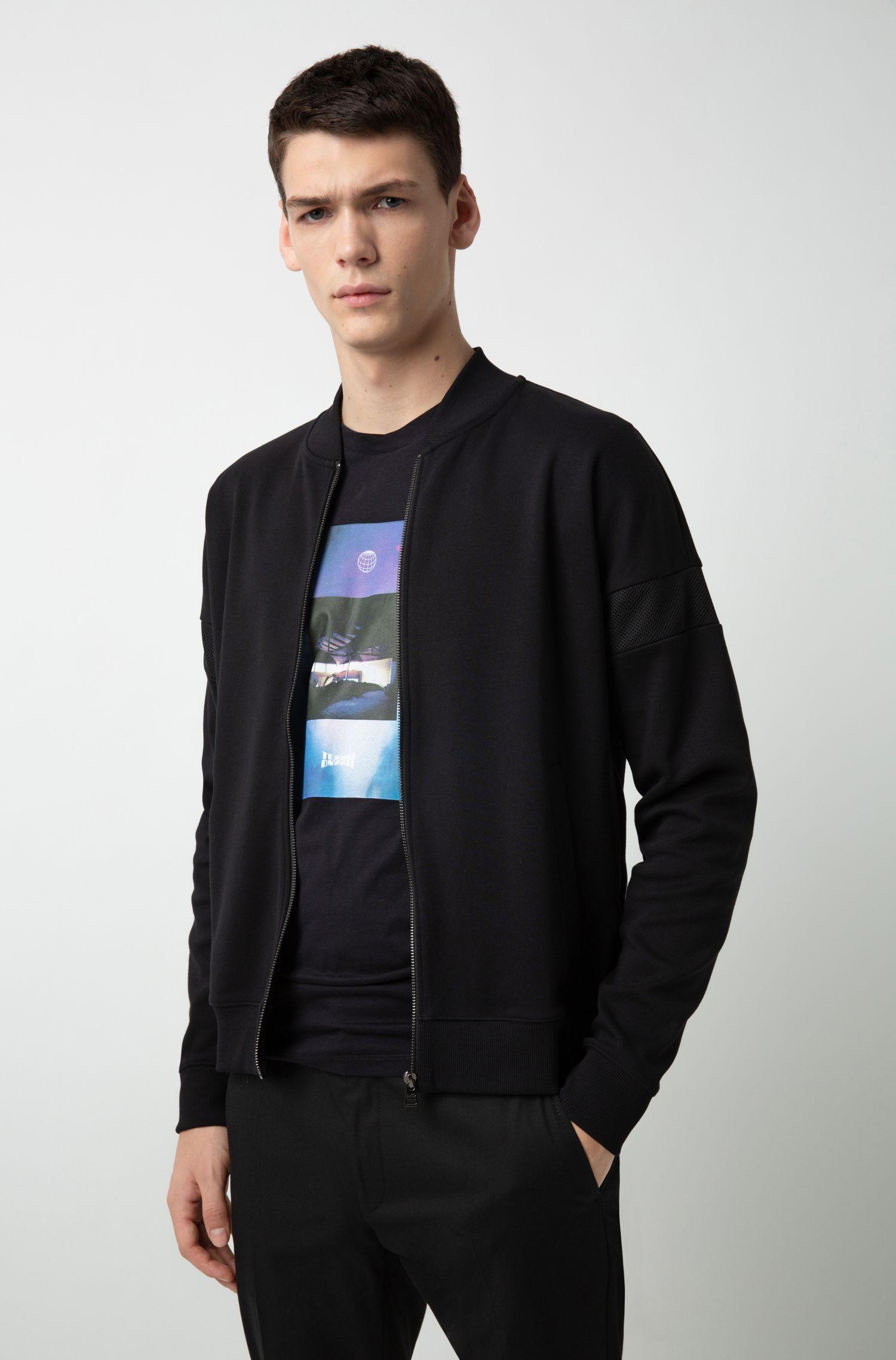 Relaxed-fit sweatshirt met doorlopende rits en meshpanelen, Zwart