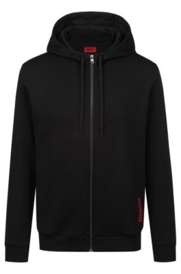 Kapuzen-Sweatjacke aus Baumwolle mit abgeschnittenem Logo-Print, Schwarz