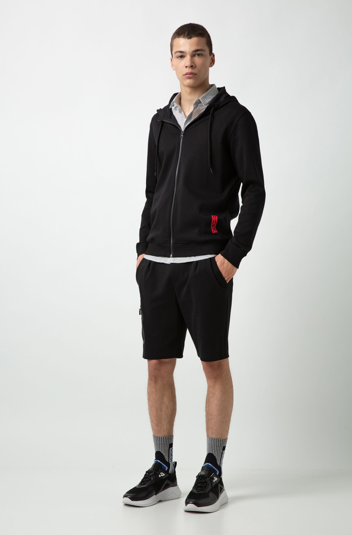 Hooded sweatshirt in cotton with large-scale cropped logo, Black