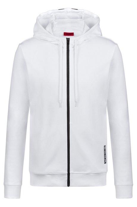 Kapuzen-Sweatjacke aus Baumwolle mit abgeschnittenem Logo-Print, Weiß