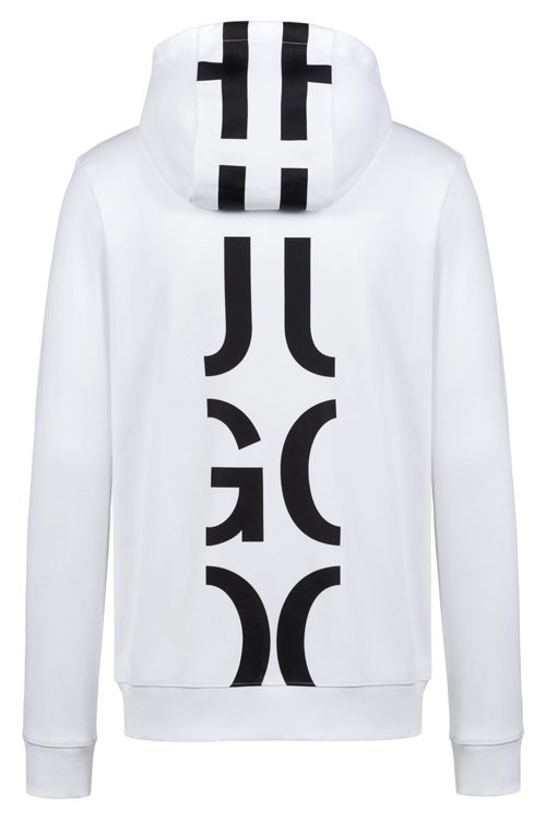 Hugo Boss - Hooded sweatshirt in cotton with large-scale cropped logo - 4