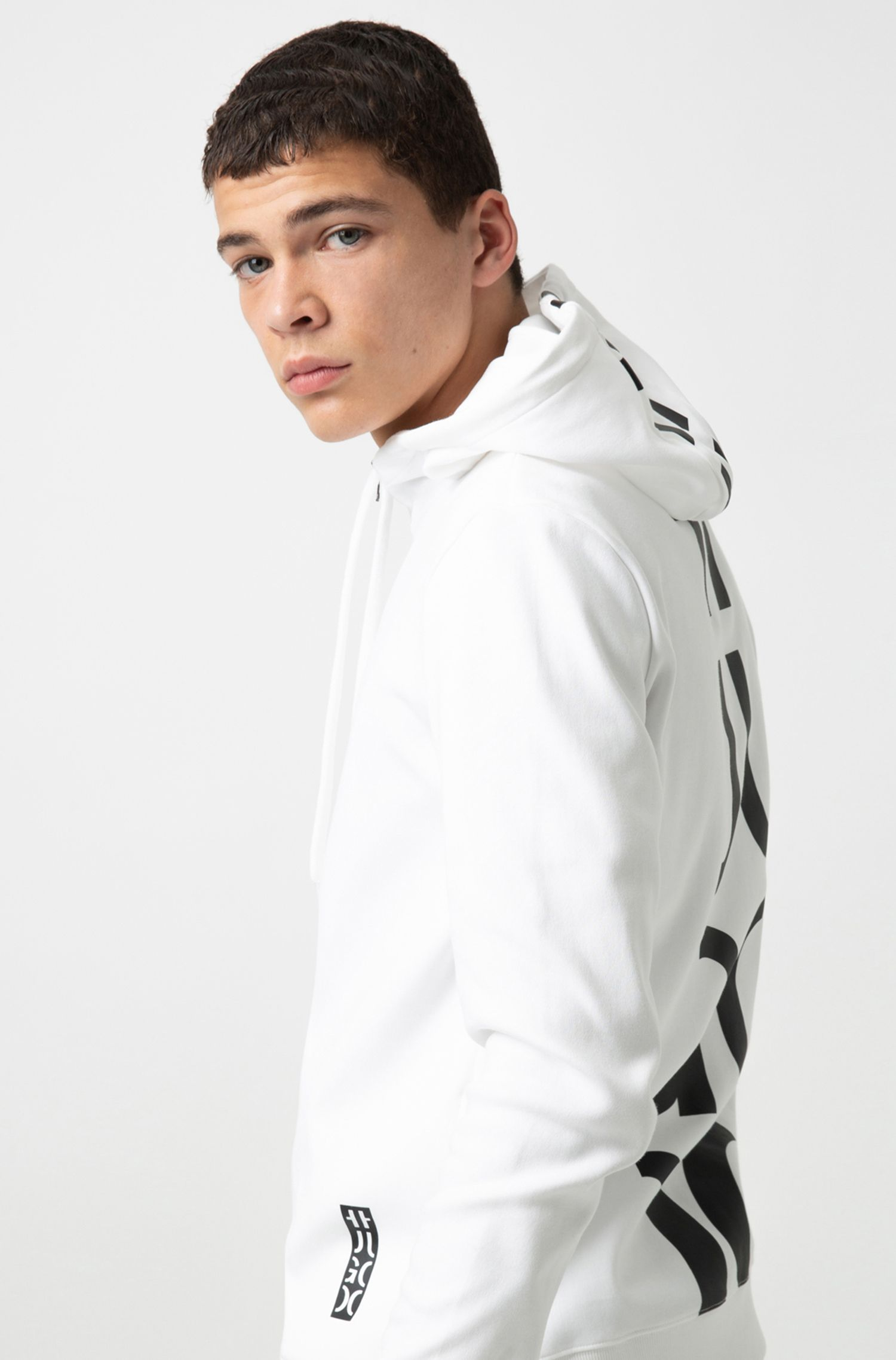 Hugo Boss - Hooded sweatshirt in cotton with large-scale cropped logo - 3