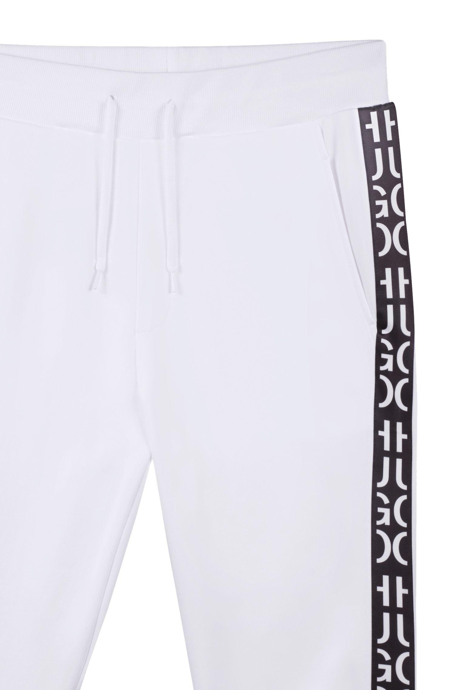 Pantaloni da jogging in cotone intrecciato con fondo gamba elastico e nastro ispirato al logo, Bianco