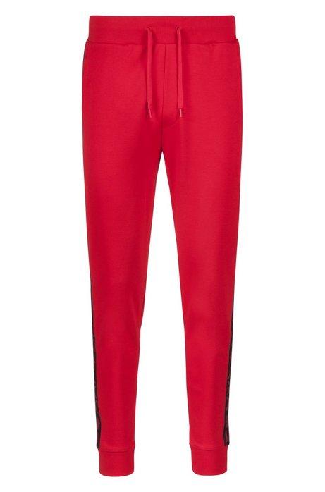 Jogginghose aus Interlock-Baumwolle mit Logo-Tape, Rot